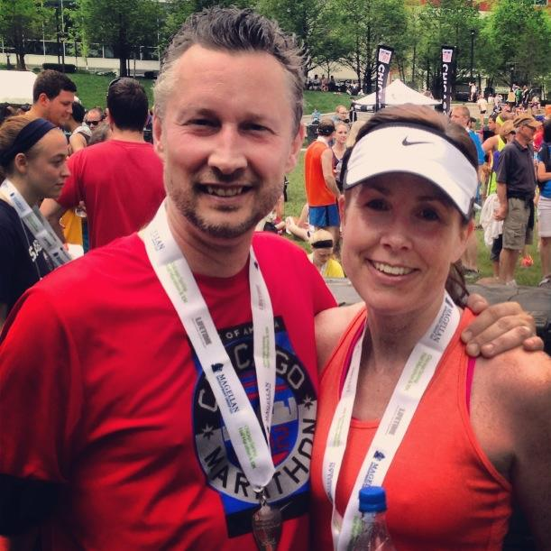 My husband and I at the finish line. I couldn't have done it without him, my running buddy and my love.