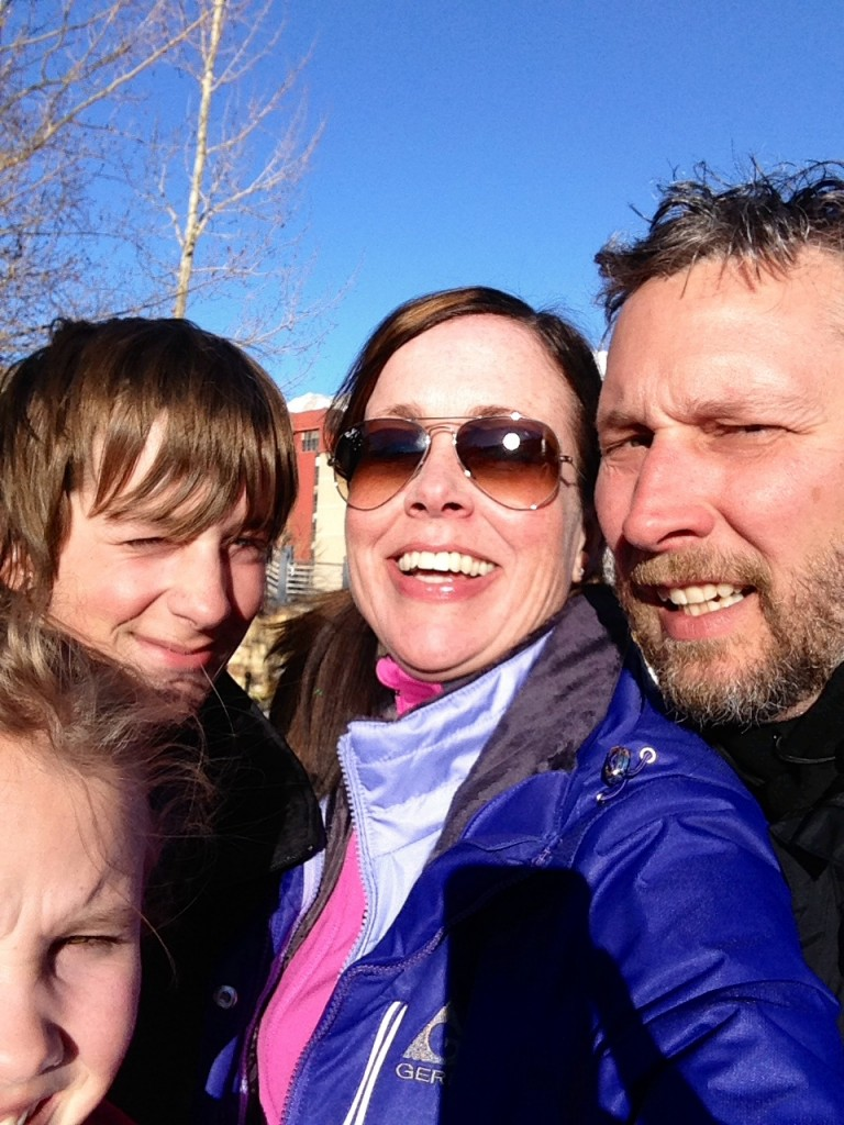 After I finally skied a green run without freaking out. This one deserves an awkward family photo award, doesn't it?